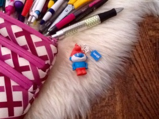 smurf and pencil pouch